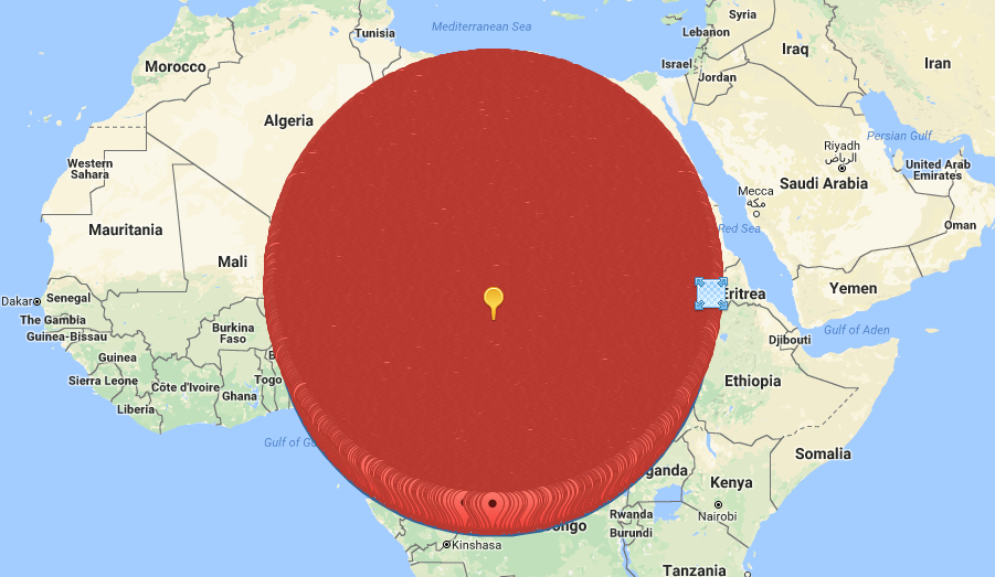 2000km radius map search